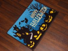 New Novelty Happy Halloween Door Mat Non Slip 40x60cm Pumpkin Spooky House Blue